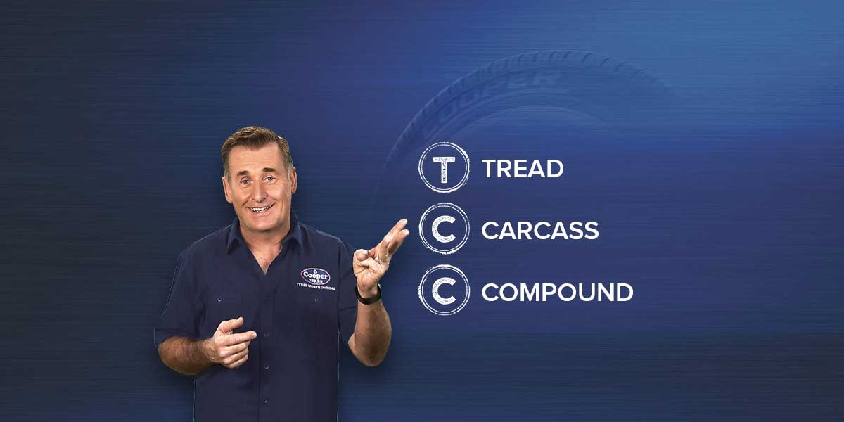 Man pointing at TCC, Tread, Carcass, Compound